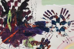 Handabdrücke auf Gemälde