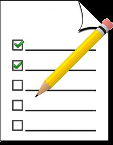 Liste mit Bleistift